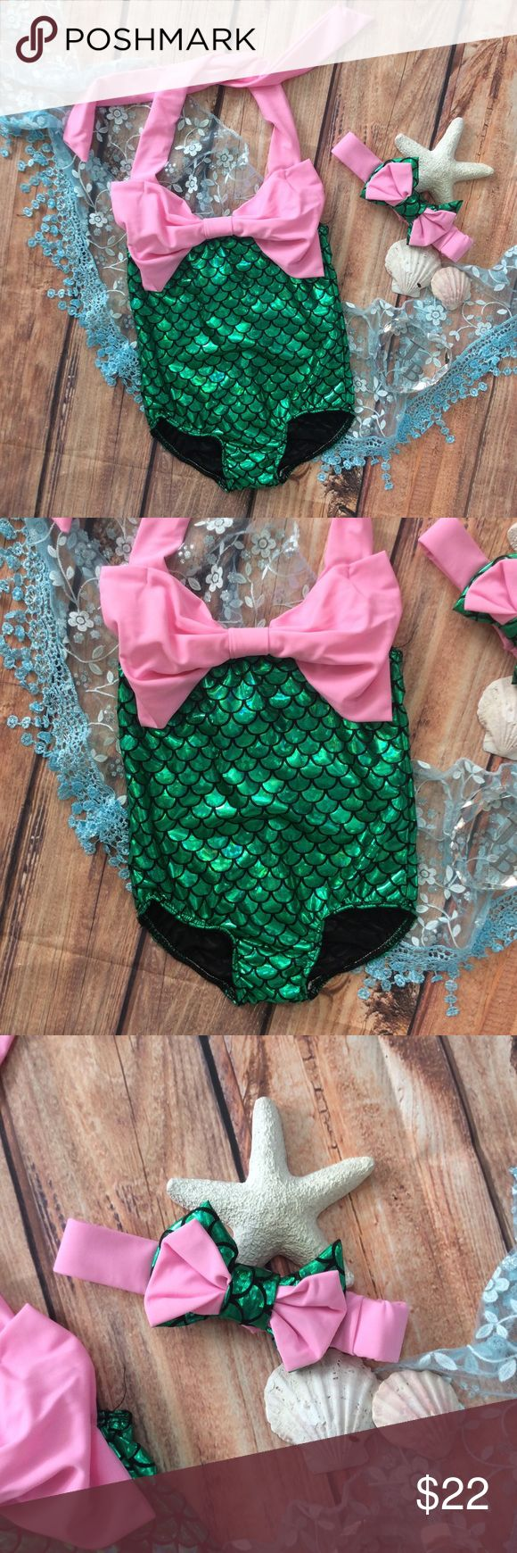 Girls Mermaid Swimsuit with Swim headband Adorable one piece Swimsuit mermaid style with halter style top. Pink big bow in front and green holographic scale pattern design. Matching Swim headband bow included. Swim One Piece