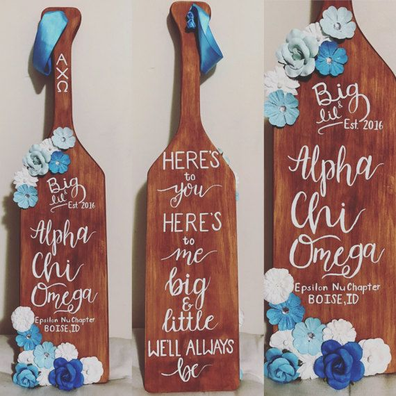 Custom Sorority Paddle Woodstained Flowers by CrystalCanvases