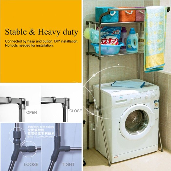 washing machine rack It has two tiers to hold a lot of daily-use items, to help reduce unnecessary bustle in your home to buy online shopping to refer