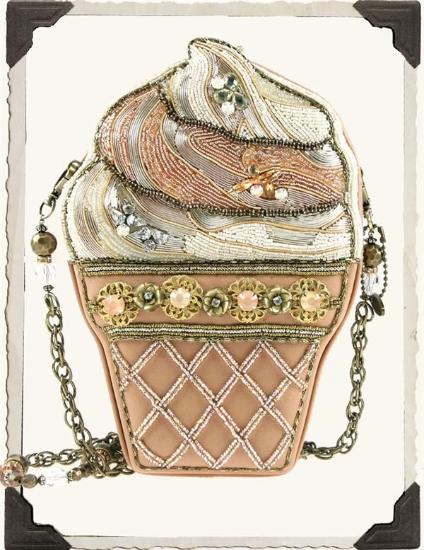 MARY FRANCES THE SCOOP PURSE      The legendary designer was inspired by fond summer recollections of beach boardwalks, amusement parks and strawberry ice cream cones. Intricately hand-beaded in luscious swirls of pink and cream.