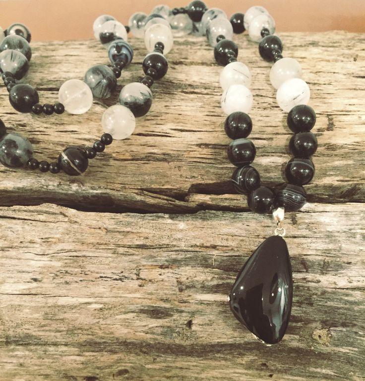Black crystal necklace - Obsidian, Agate, Tourmaline Quartz by EarthMamasCrystals on Etsy