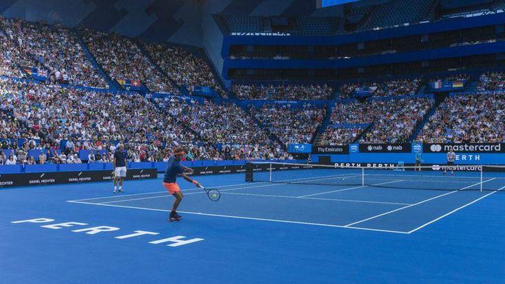 Entraînement de Roger Federer au stade de Perth (Australie) pour la Hopman Cup 2017 29 Décembre 2016