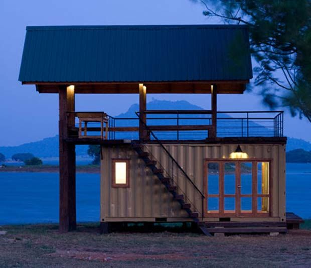 Small Shipping Container Cabin Retreat Image Credit: containerhome.info