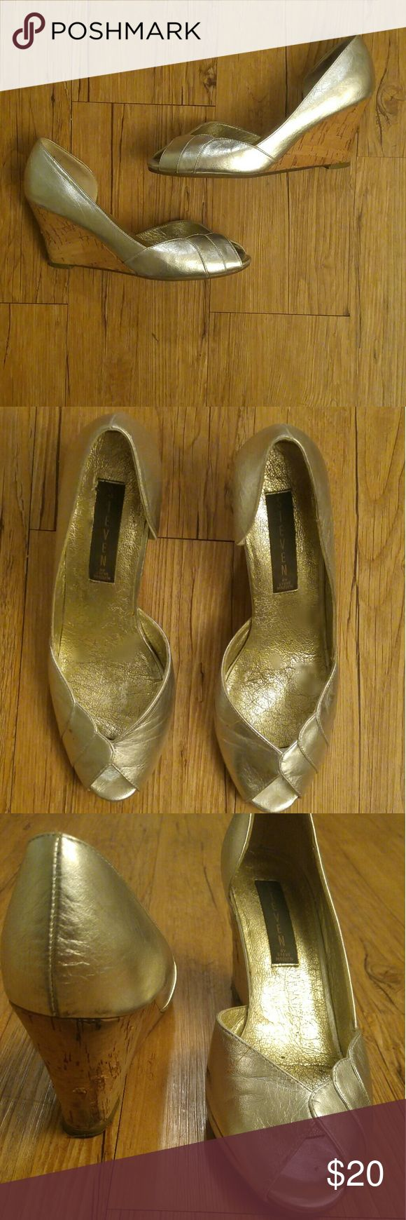 Steve Madden Silver Metallic wedge Lightly worn silver metallic wedge. Leather is in excellent shape. Super comfy and great for pool parties or day wear Steve Madden Shoes Wedges