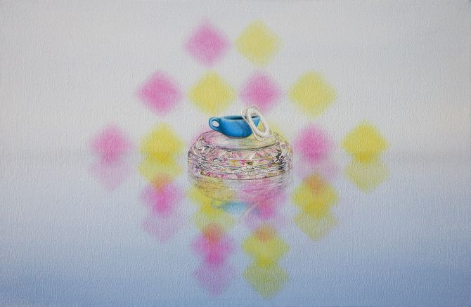 Projects, 2013 - Emily Hartley-Skudder, Pink and Yellow with Sauce Boat and Life Ring, 285 x 188 mm, Oil on Calico, 2013