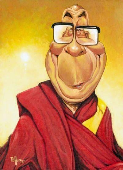 Dalai lama caricature nel caricature divertenti