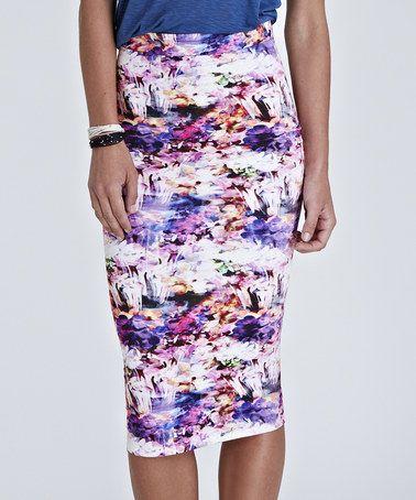 White Floral Amber Pencil Skirt #zulily #zulilyfinds
