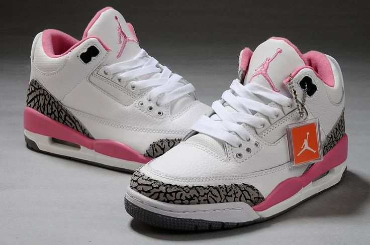 Air Jordan 3 Womens White Cement/Grey-Pink