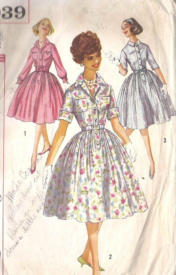 Lolita Shirtwaist Dress From 1950s Vintage Sewing Pattern