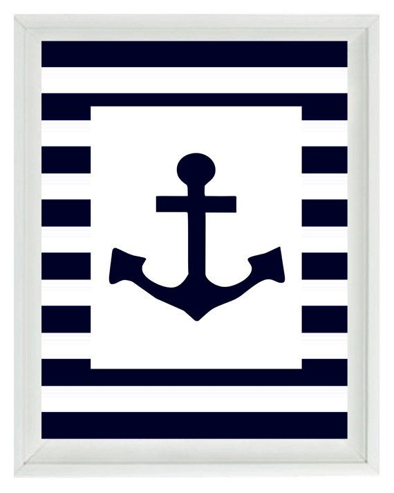 Nautical Nursery Anchor Wall Art Print  - Navy Blue White Stripes (they also have a sailboat and a ship wheel)