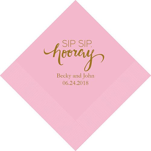 Set of 100 Sip, Sip, Hooray Wedding Napkins - Personalized Wedding Napkins - Wedding Cocktail Napkins - Luncheon Wedding Napkins - Custom by NapkinNiche on Etsy https://www.etsy.com/listing/272827024/set-of-100-sip-sip-hooray-wedding