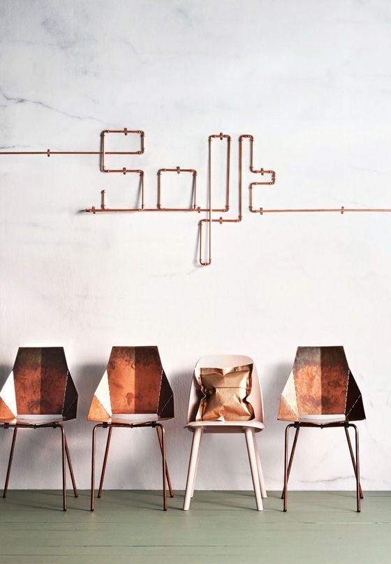 Quand les canalisations en cuivre font une boucle par l'art... When copper pipes turn arty! The October Issue Inside Out Magazine. Cuivre, cobre, Kupfer, rame, copper.