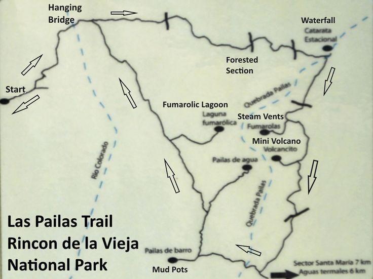 Trail Map, Las Pailas Trail, Rincon de la Vieja National Park