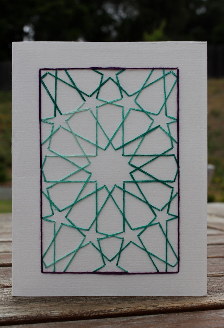 handmade embroidered card - Moroccan Inspired Star Design, Green and Purple. $5.00, via Etsy.