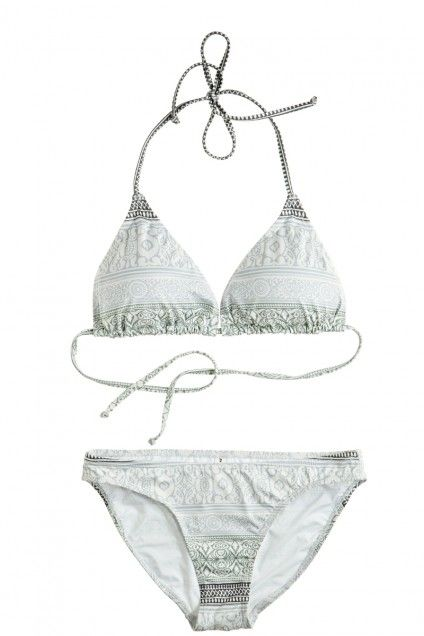 Unveil your sunny outlook in this unique cool grey border print bikini top. A luminous & fun new way to outfit your island beach days in style. @Calypso St. Barth #island #resort