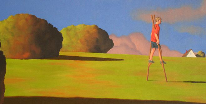 """""""Stilts and Three Trees,"""" a painting by Rob Browning. Image courtesy of Warm Springs Gallery."""