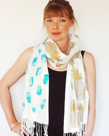 Gold Pineapple Scarf - Aqua
