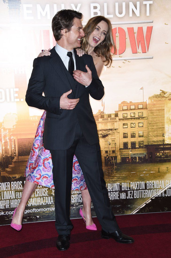 Pin for Later: May's Must-See Celebrity Moments!  Emily Blunt and Tom Cruise goofed off at the Edge of Tomorrow premiere in London.