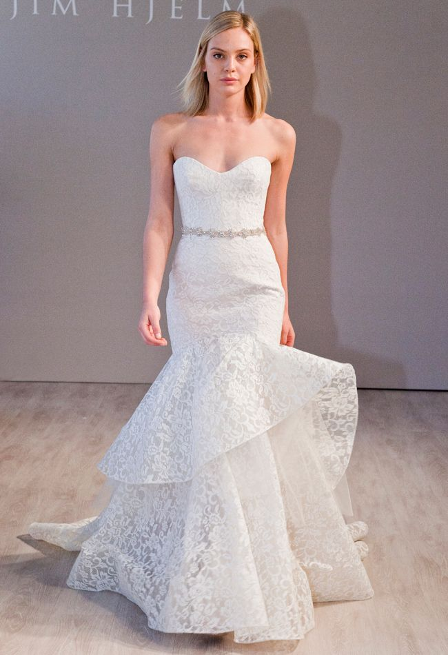 Lace Sweetheart Strapless Wedding Dress with an Asymmetric Skirt | Jim Hjelm Fall 2014 | The Knot Blog