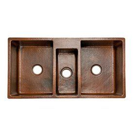 Premier Copper Products 22 In X 42 In Oil Rubbed Bronze Triple Basin C Copper Kitchen Sinksbasin