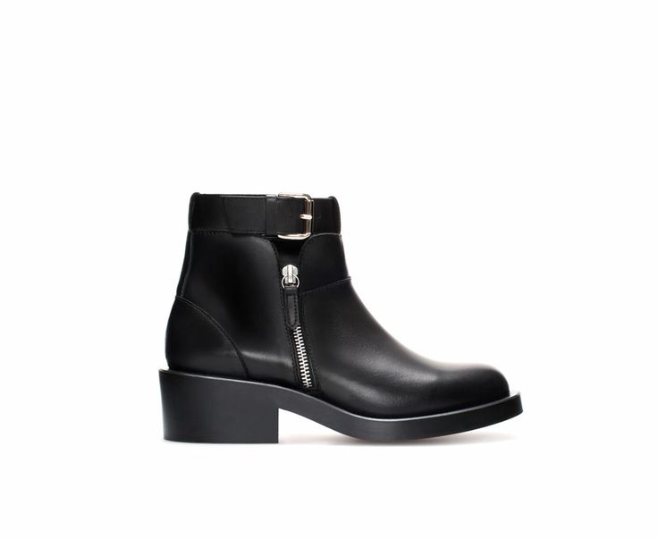 Image 1 of FLAT LEATHER ANKLE BOOT WITH BUCKLE from Zara, 59.95