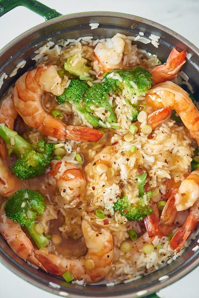 Honey-Garlic Shrimp Stovetop Rice Casserole. Looking for recipes and ideas for weeknight dinners and meals made on the stove top in a pot or pan? This fast and easy recipe is made with onion, long grain white rice, ginger, chicken broth, broccoli florets, frozen, uncooked peeled deveined shrimp, honey, tamari, soy sauce.