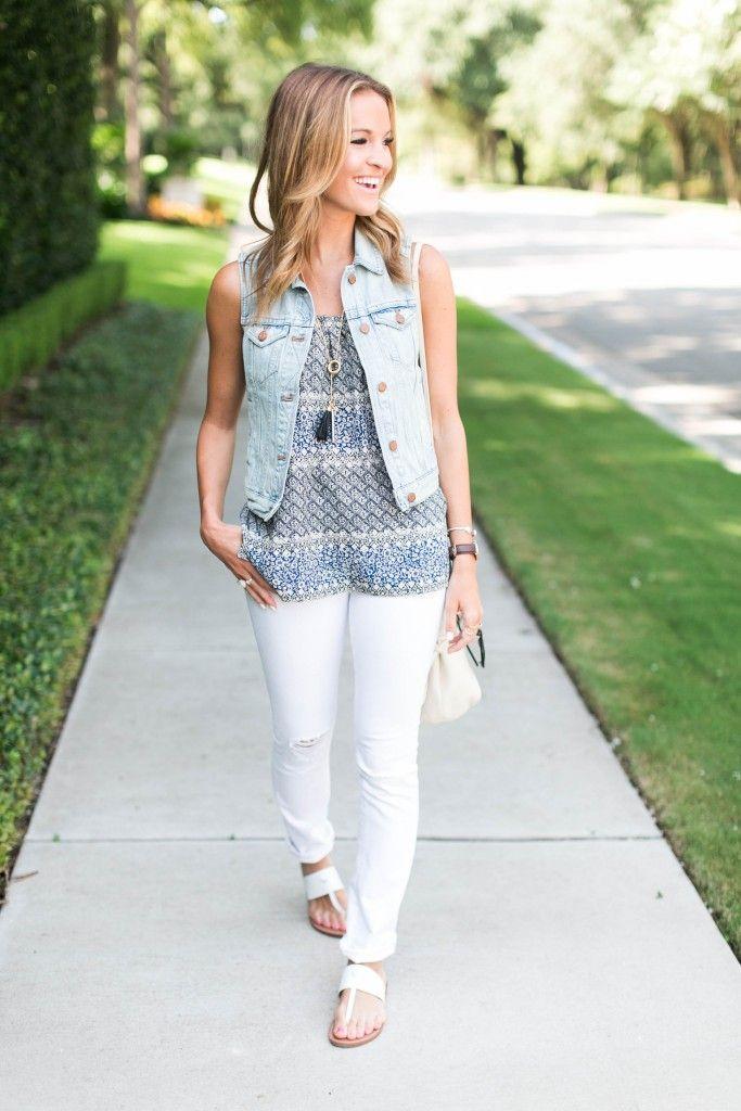 denim vest + white skinny jeans