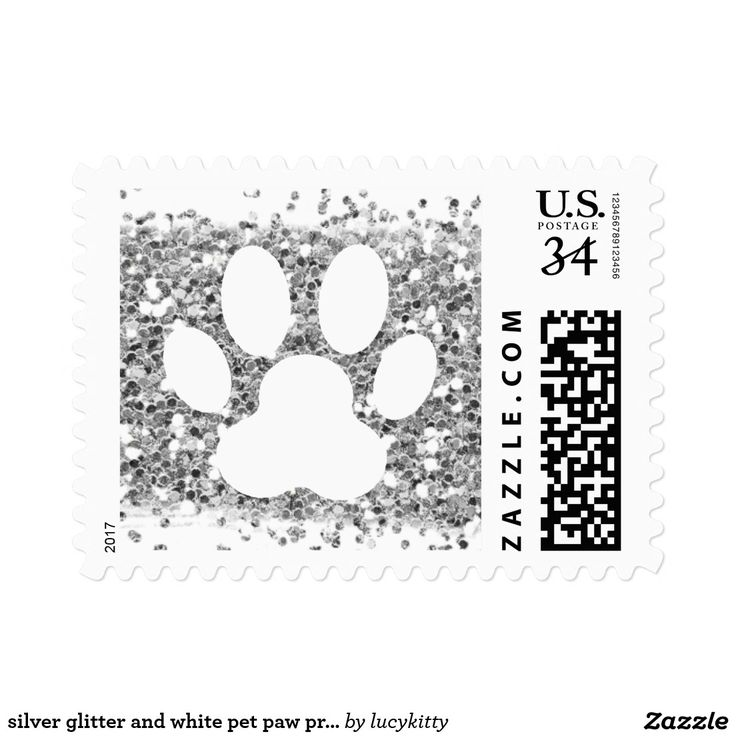 silver glitter and white pet paw print postage