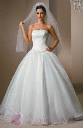 $192.50  Ball Strapless Sleeveless Sweep Satin Tulle Bridal Dress W1082 Ball Gown Wedding Dress