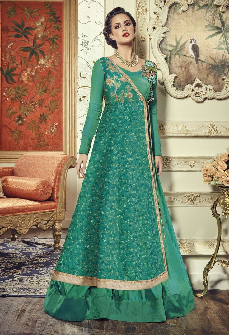 designer anarkali suits GREEN LONG INDIAN DESIGNER ANARKALI SALWAR SUIT IN ART SILK  http://www.reshamfabrics.com/salwar-suits/green-long-indian-designer-anarkali-salwar-suit-in-art-silk-rfc17007.html