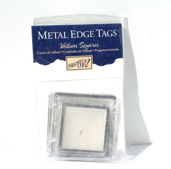 12 Vellum Square Metal Edge Tags Stampin by MyCreativePossession