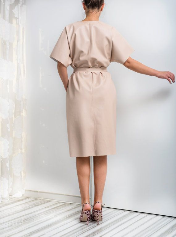 TAN FAUX LEATHER MAXI , MIDI DRESS - SIMPLE, CHIC AND COMFY !  The fabric is well made - it looks like real and very elegant ! It is light and soft ....  The shape of the dress is very simple , but elegant - wear the dress with a belt , which is included and it is removable :) Or without :)  A lovely choice of a color and fabric - for the upcoming Spring time ! Available in BLACK, WHITE, OLIVE GREEN, BURGUNDY, DARK,OLD GOLD COLORS. Enjoy , Ladies !   WEAR WITH HIGH HEELS…