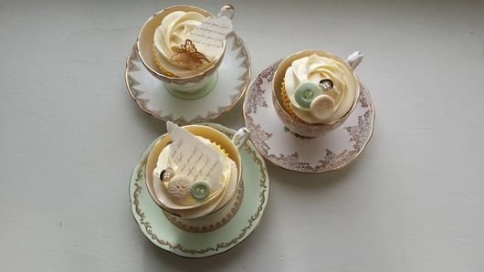 Teacups and cupcakes. Cupcakes by Cherub Couture cakes.