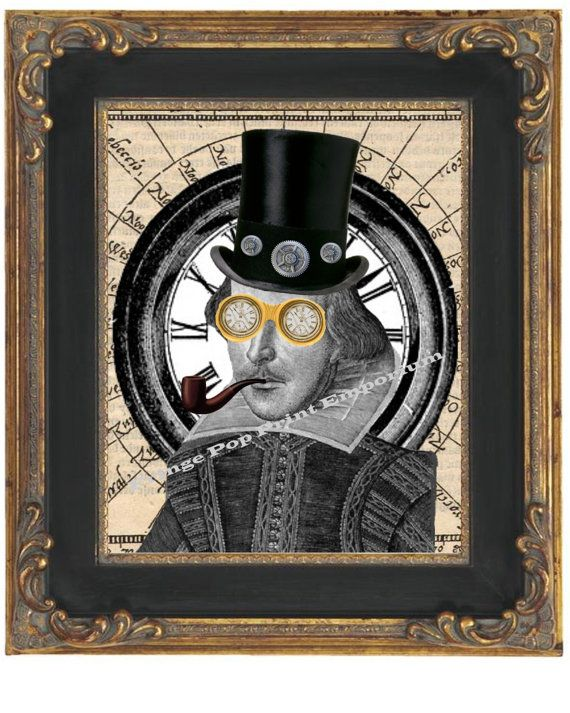 Steampunk William Shakespeare Art Print 8 x 10  in door fringepop