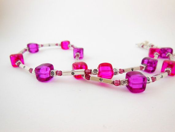 Berry Glass Necklace. Glass Cube Necklace in by LeelysBeads, €22.00