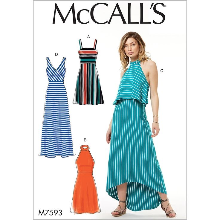 Misses Sleeveless Pullover Dresses with Neckline, Bodice and Length Variations McCalls Sewing Pattern 7593.