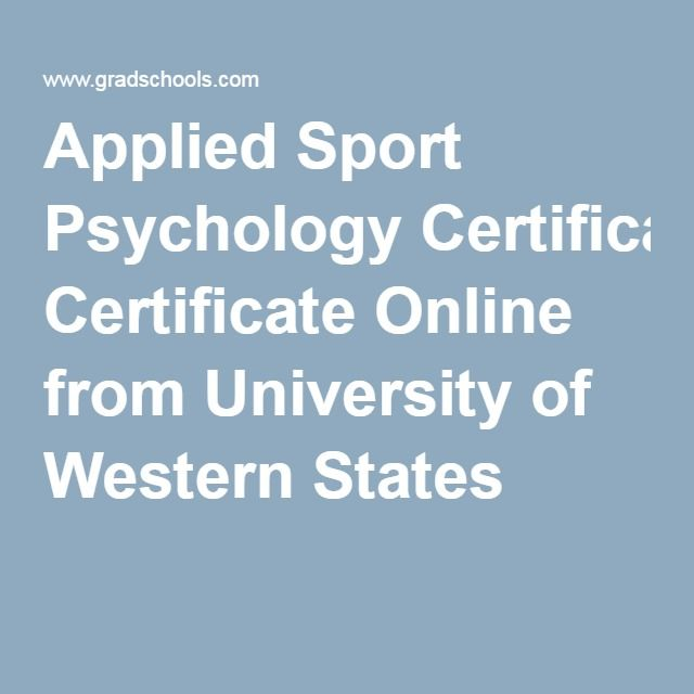 Applied Sport Psychology Certificate Online from University of Western States