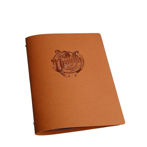 Our tuscan leather menu cover in natural tan with blind embossed custom logo
