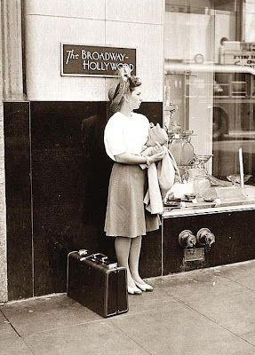 1942 Girl waiting for Greyhound Bus, Hollywood CA