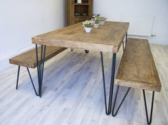 Hairpin Leg Dining Table And Bench Set With Reclaimed Wood Top And Industrial Metal Legs Kitchen Table Settings Wooden Kitchen Table Dining Table Legs