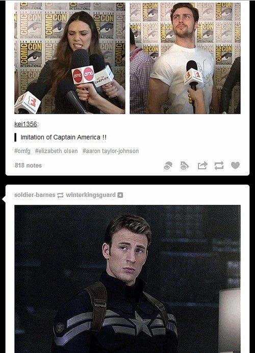 Elizabeth Olsen and Aaron Taylor-Johnson's imitation of Captain America. Tumblr funny.