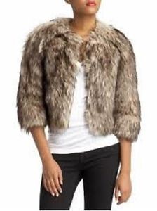 Michael Kors Khaki Basics Faux Fur Coyote Ladies Cropped Jacket Bolero Lined  MICHAEL Michael Kors Cropped Bolero Jacket Faux Coyote Fur 3/4 Sleeve Hook and eye closure Dry Clean Only Color: Khaki Size XSmall Retail $275