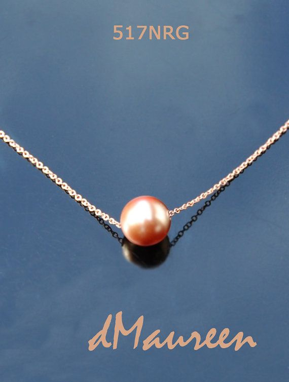 517NRG ROSE GOLD Pearl on Rose Gold Chain. by dMaureenVastine