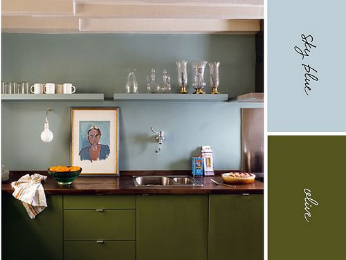 Oh!Wall Colors, Colors Combos, Olive Green, Kitchens Colors, Blue Wall, Green Kitchens, Blue Kitchens, Colors Combinations, Kitchens Colours