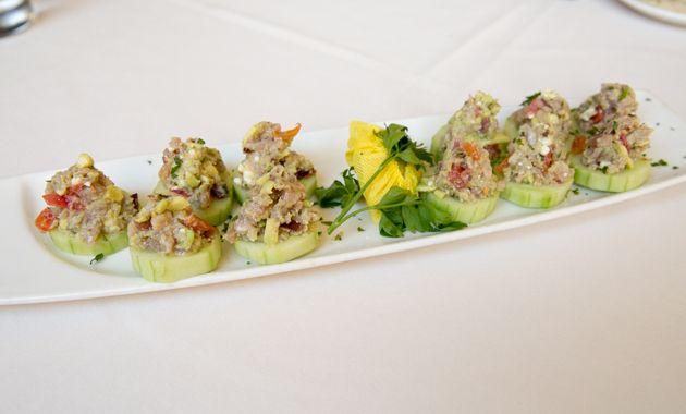 Petros Restaurant Manhattan Beach/ Ahi Cucumber Rolls with Feta, Greek Restaurant, Healthy Eating, Gluten Free, Greek Food