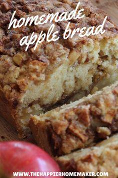 homemade apple bread // moist, flavorful, total fall comfort via the happier homemaker #brunch
