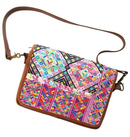 Ethnic Computer Bag for a boho look (leather and huipil). Completely handmade in Guatemala.