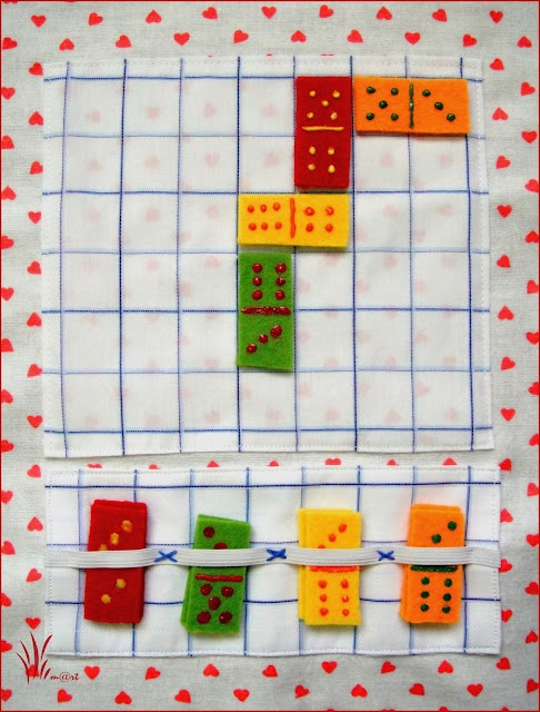 a domino page might be fun...matching numbers...made it, store dominos in a clear bag
