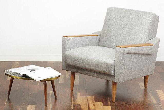 Super comfortable 60s armchair with great angular shape.   The chair is solid, heavy and of very good quality. Very well constructed armchair with solid beech inner frame and fully sprung seat.  Fully restored and covered in a grey wool fabric - a superior quality textile which is a hard wearing but soft to the touch.  Very elegant armchair - will look great in a living room or in an office. An excellent statement piece - perfect for any modern or vintage styled interior. www.viremo.co.uk