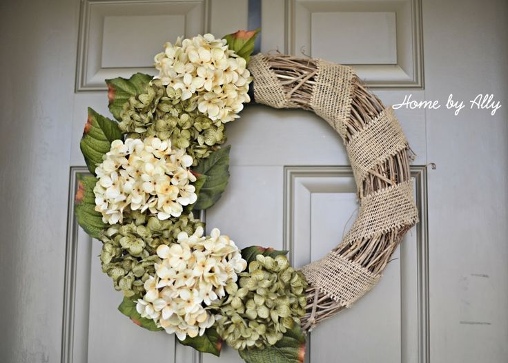 Front Door Wreath- with diff color flowers instead of white...maybe add address letters too!